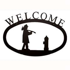 Wrought Iron Fireman Welcome Sign