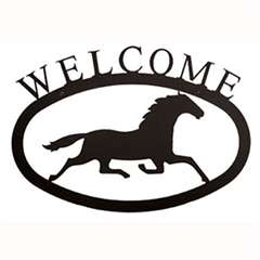 Wrought Iron Running Horse Welcome Sign