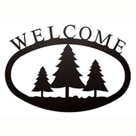 Wrought Iron Pine Trees Welcome Sign