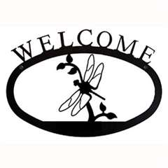 Wrought Iron Dragonfly Welcome Sign