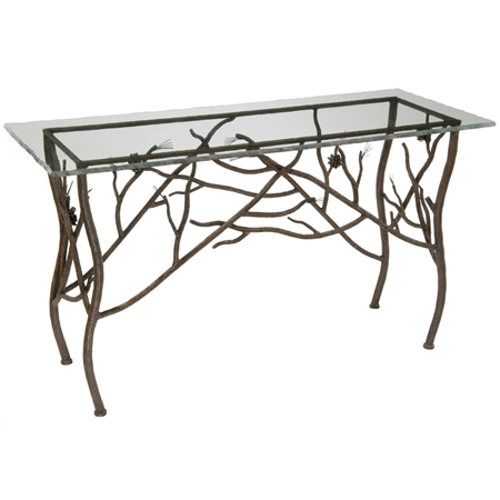 Pictured her is the Rustic Pine Textured Wrought Iron Console Table with table top.