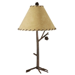 Rustic Pine Table Lamp