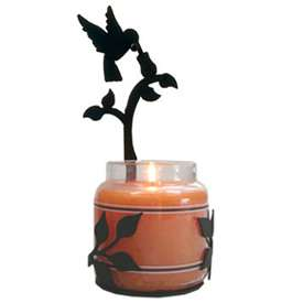 Wrought Iron Large Hummingbird Candle Jar Sconce