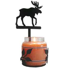 Wrought Iron Large Moose Candle Jar Sconce