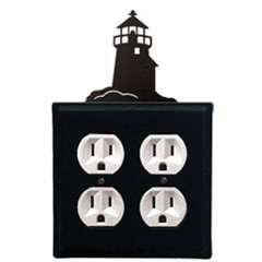 Wrought Iron Lighthouse Outlet Cover - Double