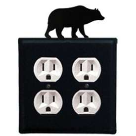 Wrought Iron Bear Outlet Cover - Double