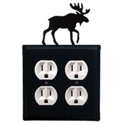 Wrought Iron Moose Outlet Cover - Double