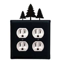 Wrought Iron Pine Trees Outlet Cover - Double