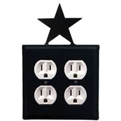 Wrought Iron Star Outlet Cover - Double