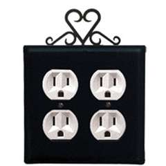 Wrought Iron Heart Outlet Cover - Double