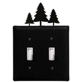 Wrought Iron Pine Trees Switch Cover - Double