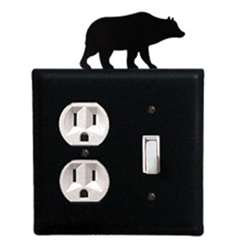 Wrought Iron Bear Outlet & Switch Combination Cover