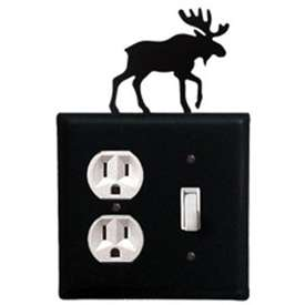 Wrought Iron Moose Outlet & Switch Combination Cover