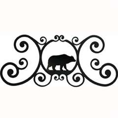 Wrought Iron Bear Over Door Plaque
