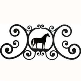 Wrought Iron Horse Over Door Plaque