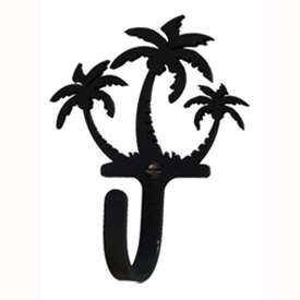 "Wrought Iron Triple Palm Trees Small Wall Hook (Hook Depth measures 1-1/4""D)"