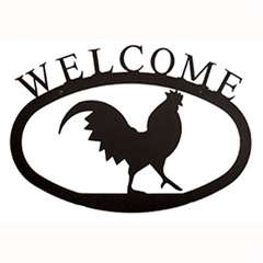 Wrought Iron Rooster Welcome Sign