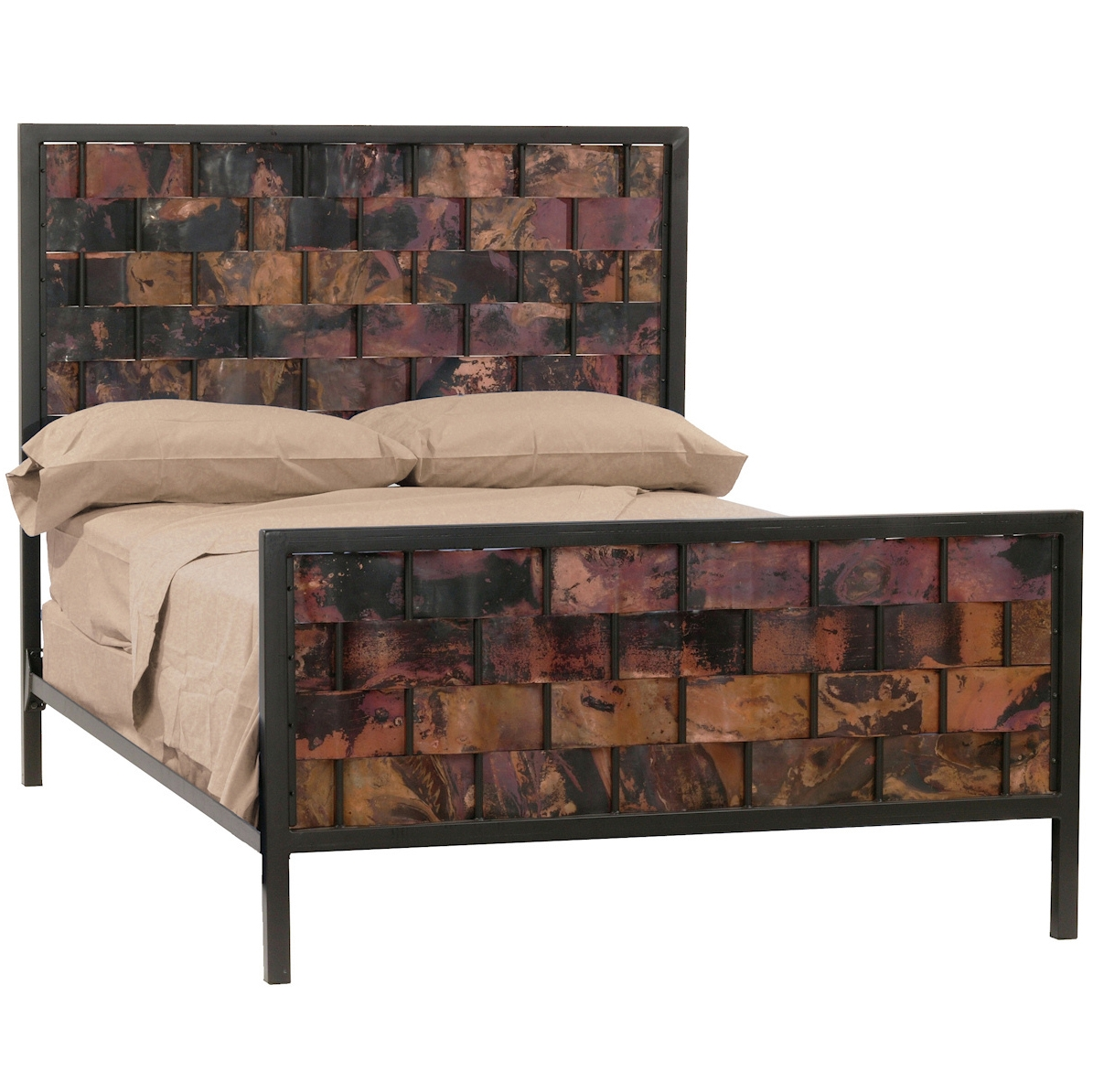 Rushton Wrought Iron Bed with Woven Copper Headboard and Foot Board