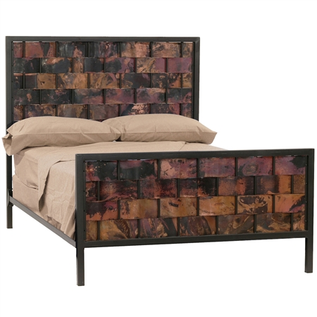 Pictured here is the Rushton Wrought Iron Bed with Woven Copper Headboard and Foot Board