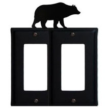 Wrought Iron Bear Double GFI Cover