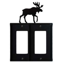 Wrought Iron Moose Double GFI Cover
