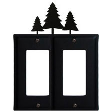Wrought Iron Pine Trees Double GFI Cover