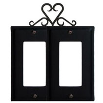 Wrought Iron Heart Double GFI Cover
