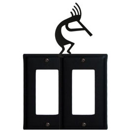 Wrought Iron Kokopelli Double GFI Cover