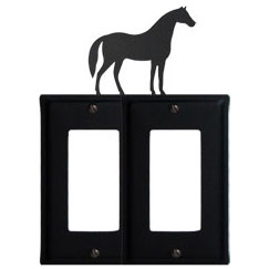 Wrought Iron Horse Double GFI Cover