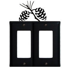 Wrought Iron Pine Cone Double GFI Cover