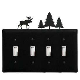 Wrought Iron Moose/Pine Quad Switch cover