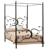Pictured here is the hand-forged Eden Isle Canopy Bed with decorative leaves and vines.