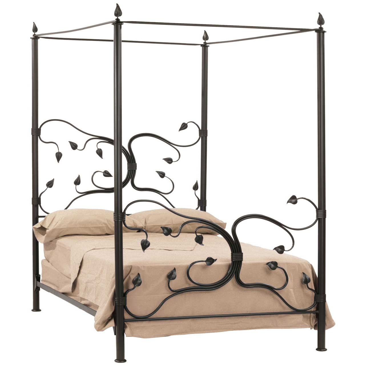 Antique french iron bed - Pictured Here Is The Hand Forged Eden Isle Canopy Bed With Decorative Leaves And Vines