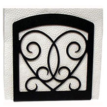 Wrought Iron Victorian Heart Napkin Holder