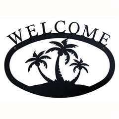 Wrought Iron Triple Palm Trees Welcome Sign