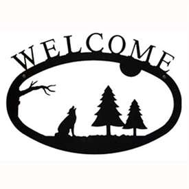 Wrought Iron Wolf & Timber Welcome Sign