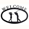 Wrought Iron Golf Couple Welcome Sign