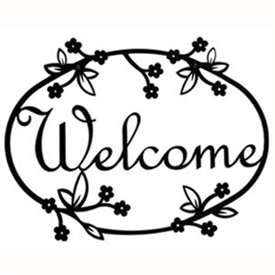 Wrought Iron Floral Welcome Sign