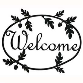 Wrought Iron Acorn Welcome Sign
