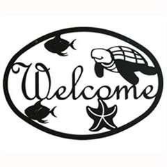 Wrought Iron Ocean Welcome Sign