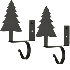 Wrought Iron Pine Tree Curtain Shelf Brackets