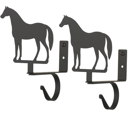 Wrought Iron Horse Curtain Shelf Brackets
