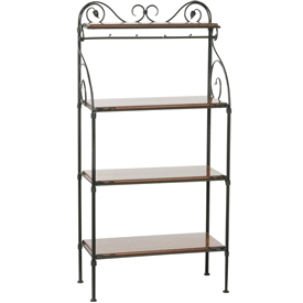Pictured here is the Leaf 4 Tier Wrought Iron Bakers Rack with wood and glass shelf options