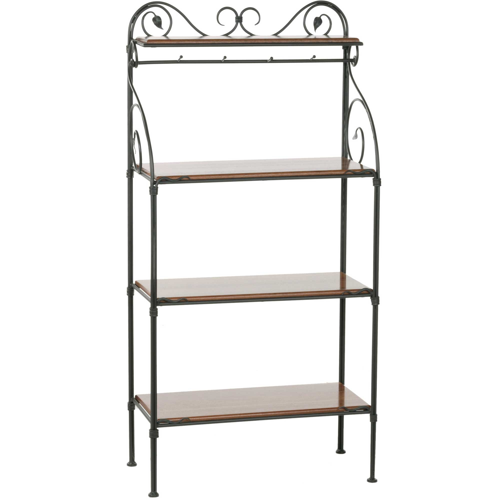 leaf 4 tier wrought iron bakers rack shelf finish options rh timelesswroughtiron com wrought iron bakers rack with glass shelves wrought iron bakers rack with glass shelves