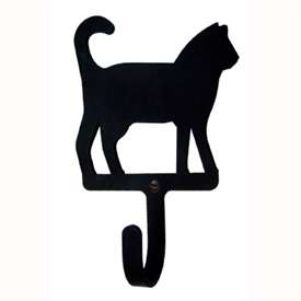 "Wrought Iron Cat Small Wall Hook (Hook Depth measures 1-1/4""D)"