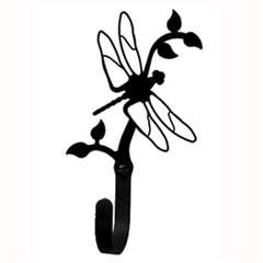 "Wrought Iron Dragonfly Small Wall Hook (Hook Depth measures 1-1/4""D)"