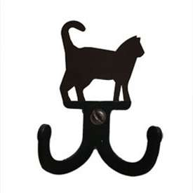 "Wrought Iron Cat Double Wall Hook (Hook Depth measures 1/2""D)"