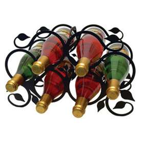 Wrought Iron Leaf Wine Rack - (holds 6 bottles)