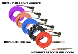 <!010>6 Feet Right Angled RCA Silicone Clip Cord, 100% Soft Silicone ,5 Colors