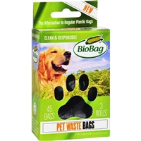 BioBag Dog Waste Bags on a Roll- 45 bags, Case of 12